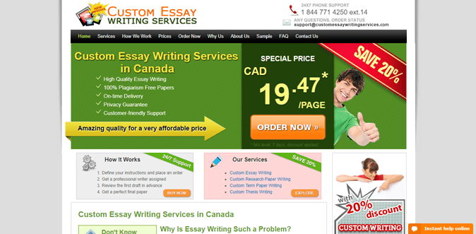 Canadian custom essay writing services